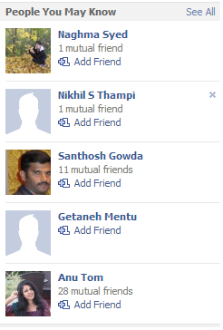 Fb People You May Know section